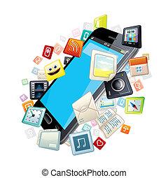 dookoła, ikony, ruchomy, apps, telefon, mądry, software