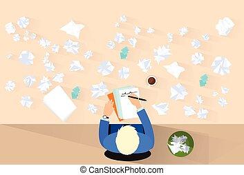 dookoła, pojęcie, zmięty, pióro, pisać, papiery, biznesmen, problem
