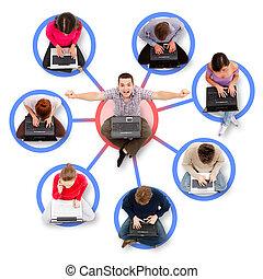 dookoła, pomyślny, jeden, sieć, członki, towarzyski, człowiek