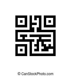 doolhof, gevormd, qr, code, pictogram, vrijstaand, op, achtergrond.