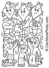 doolhof, negen, kleurend boek, met, kinderen