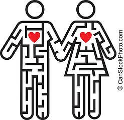doolhof, paar, love., pictogram