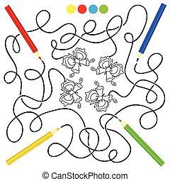 doolhof, spel, en, kleuren, activiteit