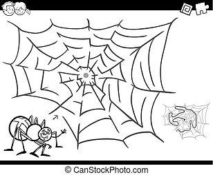 doolhof, spel, kleurend boek, met, spin, en, web