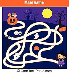 doolhof, spel, voor, children., halloween, thema, geitjes, activiteit, blad