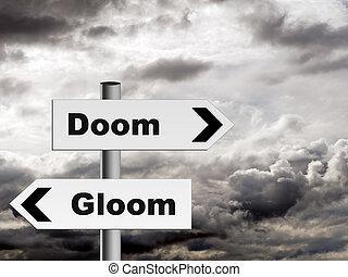 doom, e, escuridão, -, pessimista, perspectiva, ligado, vida, etc.