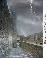 Dooms Alley - Carcasonne Castle in France with a stormy...