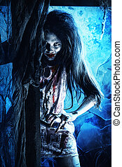 doomsday - Bloodthirsty zombi standing at the night cemetery...