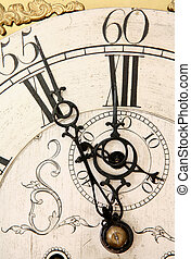 Doomsday clock - An 18th Century clock face, the time set at...
