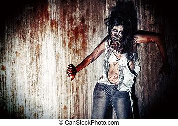 doomsday - Furious bloody zombie girl. Horror. Halloween.
