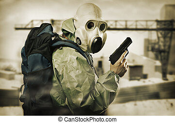 Doomsday. Man with gun - Post apocalypses world halloween...