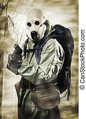 doomsday., mand, ind, gas masker, hos, geværet