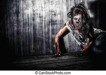 doomsday - Furious bloody zombie girl. Horror. Halloween.