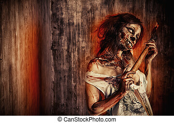 doomsday - Scary bloody zombie girl with an ax. Halloween.