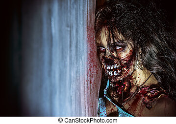 doomsday - Close-up portrait of a scary bloody zombie girl....