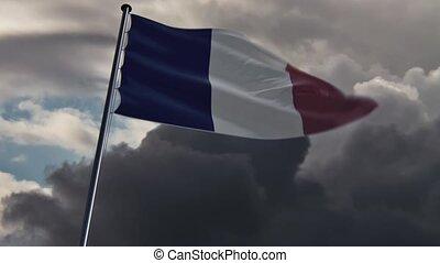 doomy,  Hq, belebt, Fahne, Frankreich