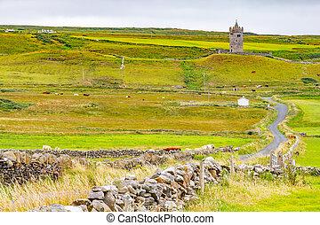 Doonagore Castle with farm fields around