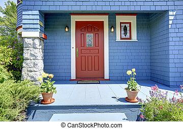 door., 青, 入口, 赤, ポーチ
