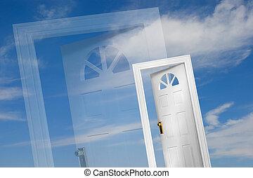Doors on sky background
