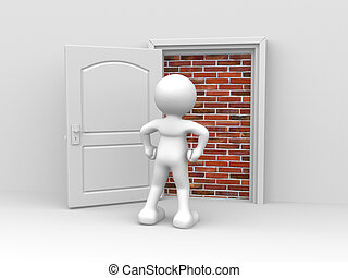 3d people - human character, person in front of a locked door with bricks (built) . 3d render illustration