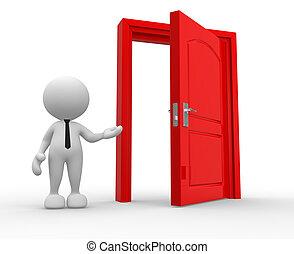 Door - 3d people - man, person and a open door.