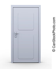 Door - 3D rendered Illustration. Isolated on white.