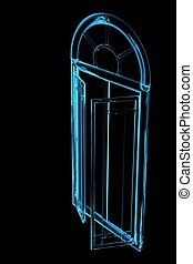 door 3D xray blue transparent