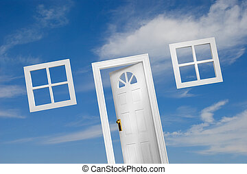 Door and windows on sky background. A house of your dream.