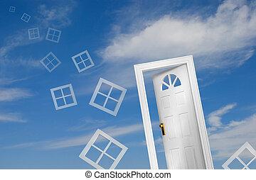 Door (5 of 5) - Door and flying windows on sky background. A...