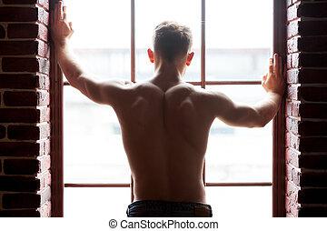 door, achterkant, jonge, aanzicht, handsome., man, venster, ...