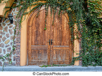 door and a wall covered with ivy