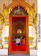 Door and beautiful cornice of Wat Pra-thart Pa-nom