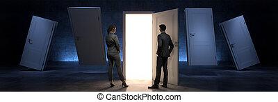 door and businessman, door to new opportunity. 3d rendering