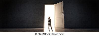 door and businesswoman, door to new opportunity. 3d rendering