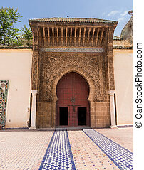 Door and entrance to mosque in Meknes Morocco