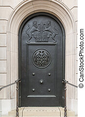 Door and entrance to the Bank of England in London