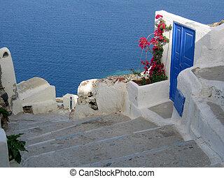 Door and Flowers in Santorini