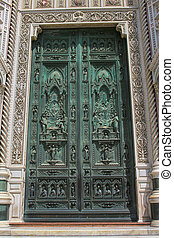Door at Florence Cathedral, Church in Italy Duomo di Firenze