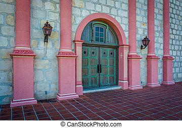 Door at the entrance to Old Mission Santa Barbara, in Santa Barb