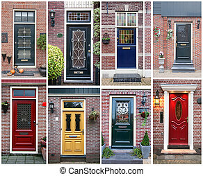 door background - collage of typical dutch doors