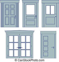 Door blueprints - Collection of five vector doors in ...