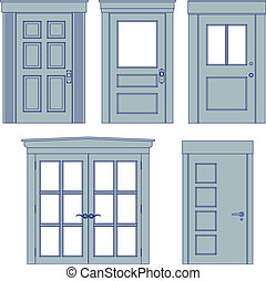 Door blueprints - Collection of five vector doors in...