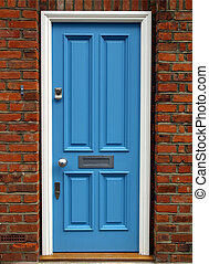 Door - Brightly coloured traditional English house door in...