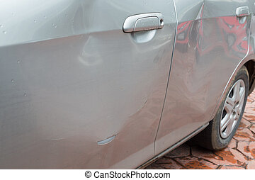 Door car with damage on accident with dent on left side on...
