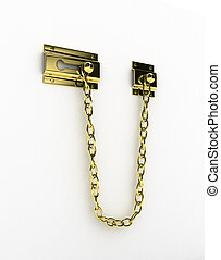 Door chain over white background