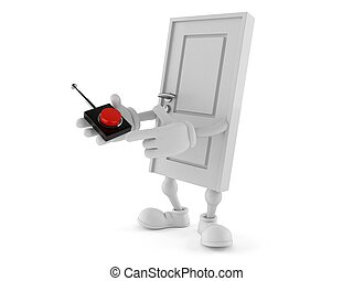 Door character pushing button on white background