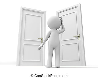 Door, Choose, A person thinking in front of three doors
