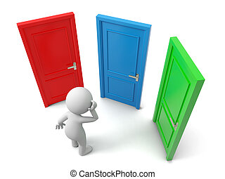 three doors - Door, Choose, A person thinking in front of ...