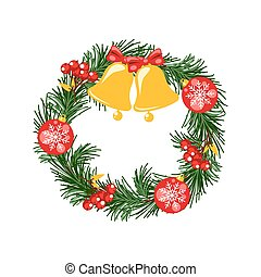 Door christmas decor. Pine tree wreath with bells and balls vector illustration.