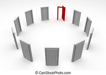 Door Circle - Open Red Door - circle of ten grey closed...